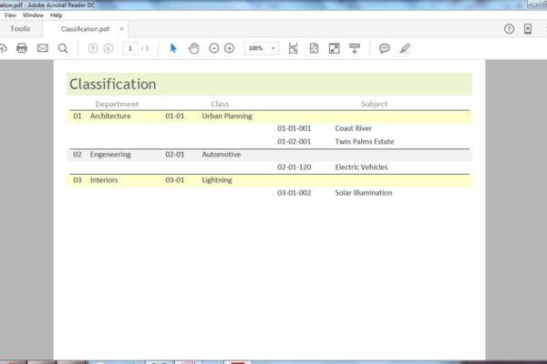 Screenshot: Access Document Management database